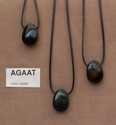 Agaat  (zwart) edelsteen kleur zwart  1 Edelsteen