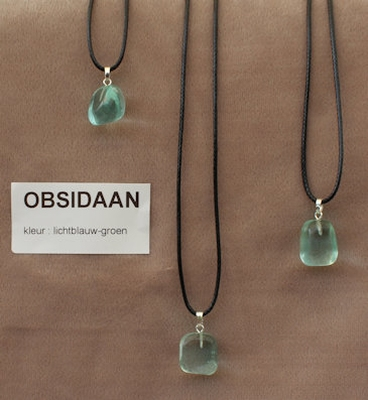 Obsidaan edelsteen (Mexico) licht blauw-groen  1 Edelsteen