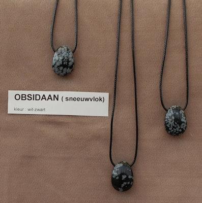 Obsidaan sneewvlok edelsteen (Madagaskar) zwart met grijs  1 Edelsteen