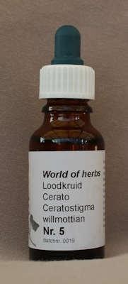 NR. 05  CERATO / LOODKRUID / CERATOSTIGMA WILLMOTTIAN  20 ml druppels