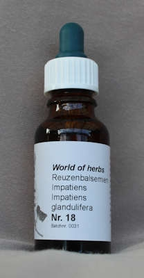 NR. 18 IMPATIENS / REUZENBALSEMIEN / IMPATIENS GLANDULIFERA  20 ml druppels