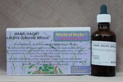 HAAR, VACHT; SLECHTE CONDITIE, BROOS FYTOTHERAPIE 107  50 ml.