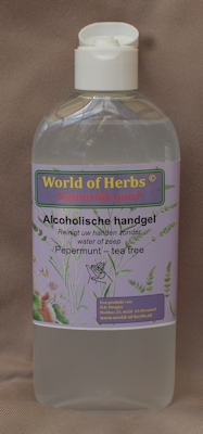 Alcoholische Handgel pepermunt - tea tree  250 ml.