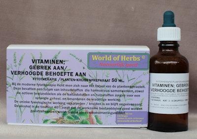VITAMINEN; GEBREK AAN/ VERHOOGDE BEHOEFTE AAN  50 ml.