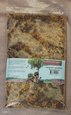 Fenegriek-knoflook-lijnzaadkoek granulaat  1 kg.